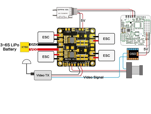 Matek Mini Power Hub With 12v Bec. Exle Wiring Con Uration. Wiring. Fpv Hub Wiring Diagram At Eloancard.info